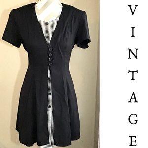 Vintage 90s Black & White Mini Dress